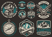 Set of vector black and white logos for the camping theme. Perfect for posters, apparel, T-shirt design and many other. Layered