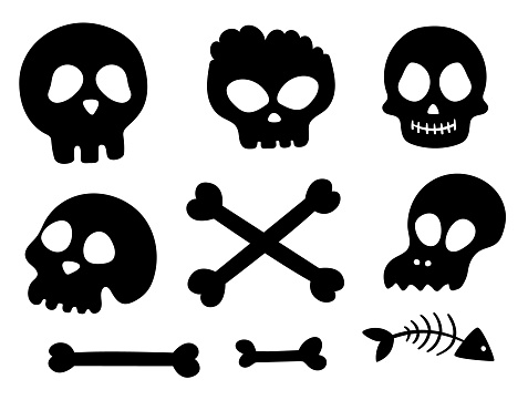 Set of vector black and white skulls and bones. Halloween party human and animal skeletons silhouettes. Scary design for Autumn Samhain party. All saints day shadow elements collection.
