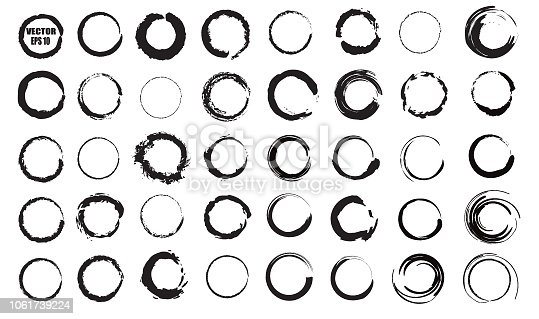 Set of vector black circles. Black spots on white background isolated. Spots for grunge design.