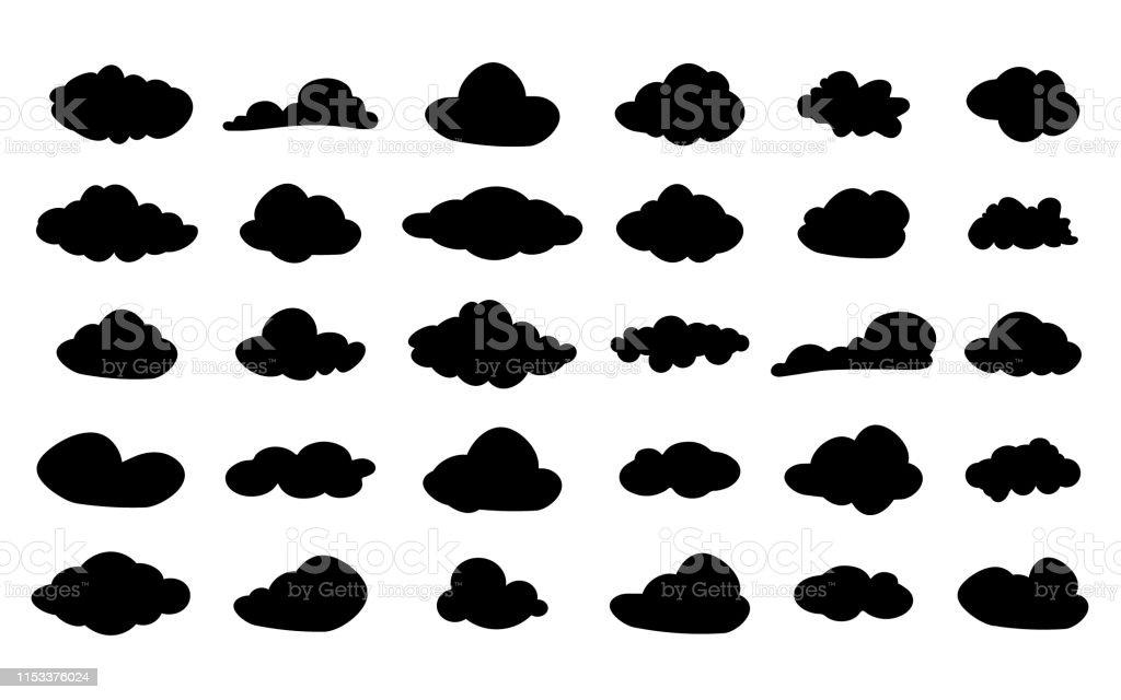 set von vector schwarzen cloudicons wolken silhouette cloud symbol für ihre  website design logo app ui vektorabbildung stock vektor art und mehr bilder  von abstrakt - istock  istock