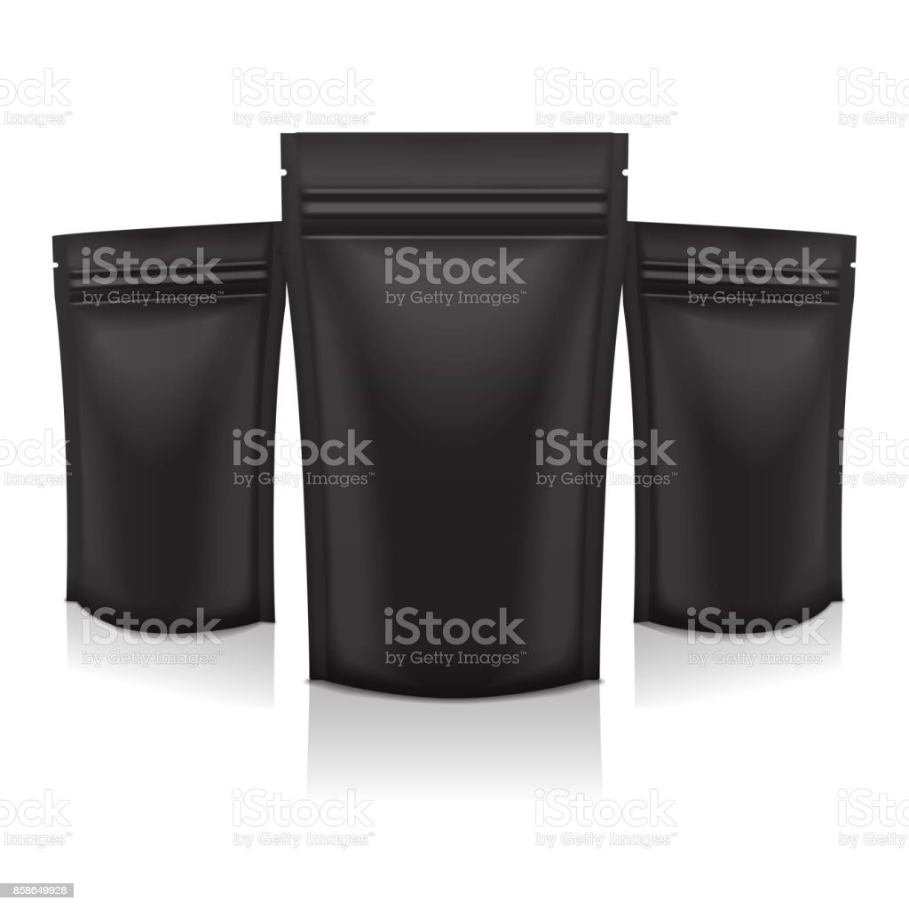 Set of Vector Black Foil Food or Cosmetic Pack Pouch Sachet Bag Packaging with Zipper. Isolated Mock up template