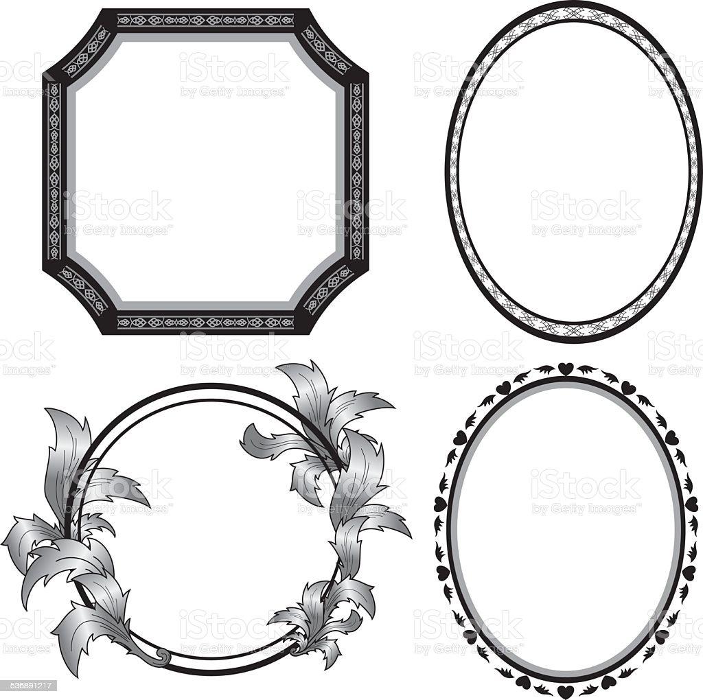 set of vector black frames vector art illustration