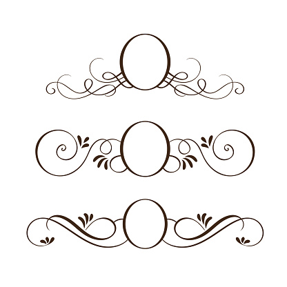 set of vector black round vintage frames, design elements with place for text or monogram or photo, logo for wedding