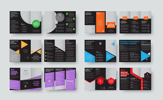 Set of vector black templates for tri-fold brochures with space for photos and various geomteric forms.
