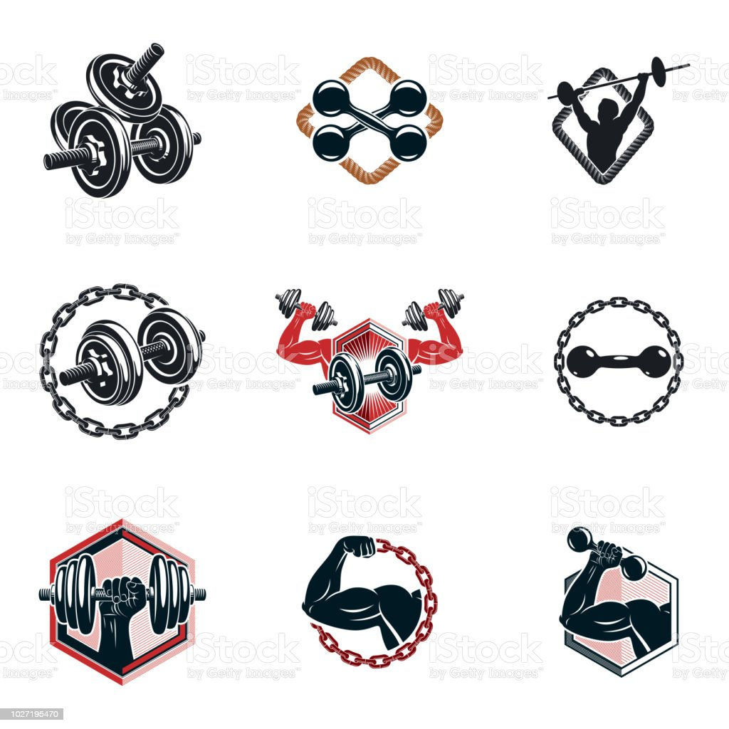 Set of vector bodybuilding theme illustrations made using dumbbells, barbells and disc weights sport equipment. Bodybuilder perfect body. vector art illustration