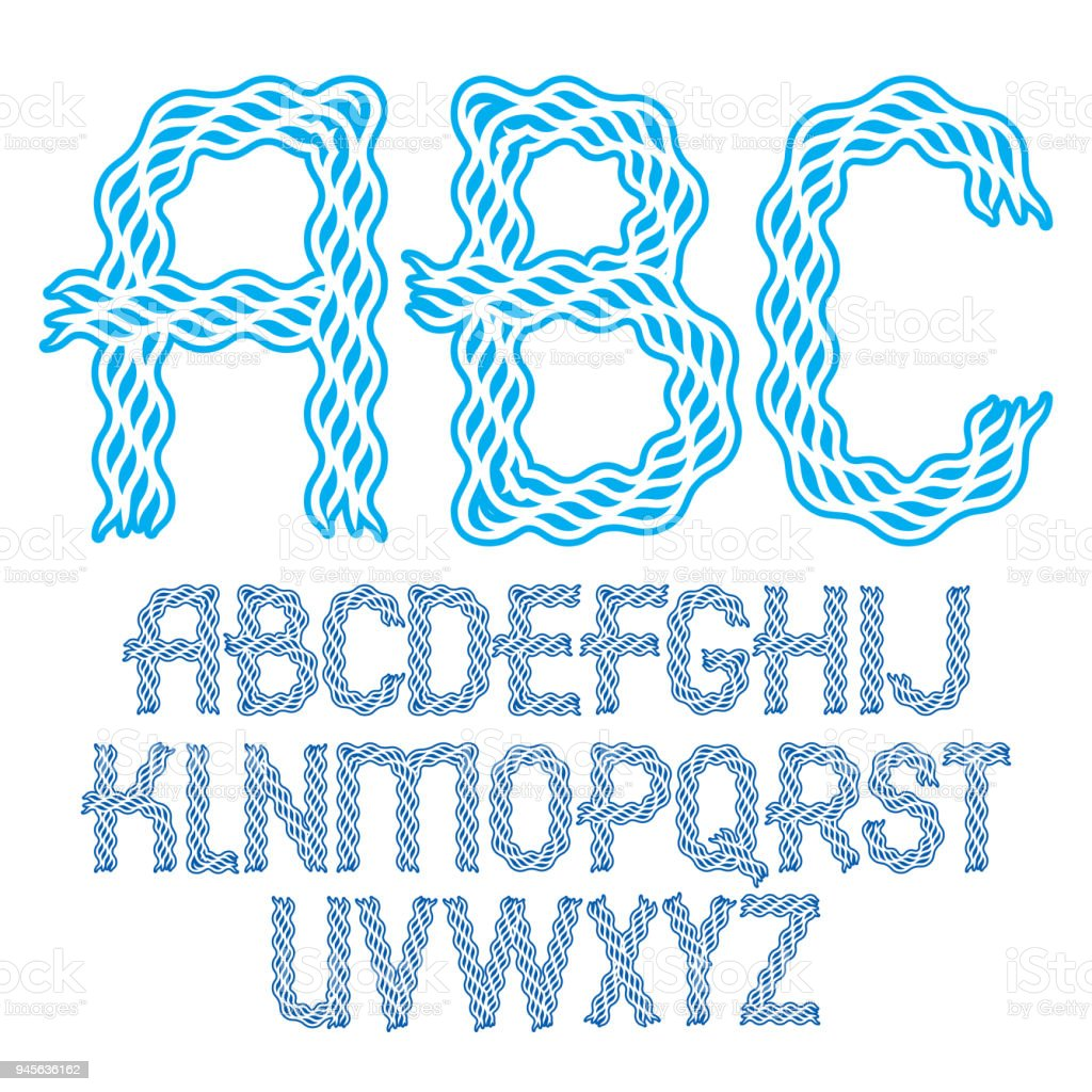 Set of vector bold capital alphabet letters isolated created with abstract curvy lines. vector art illustration