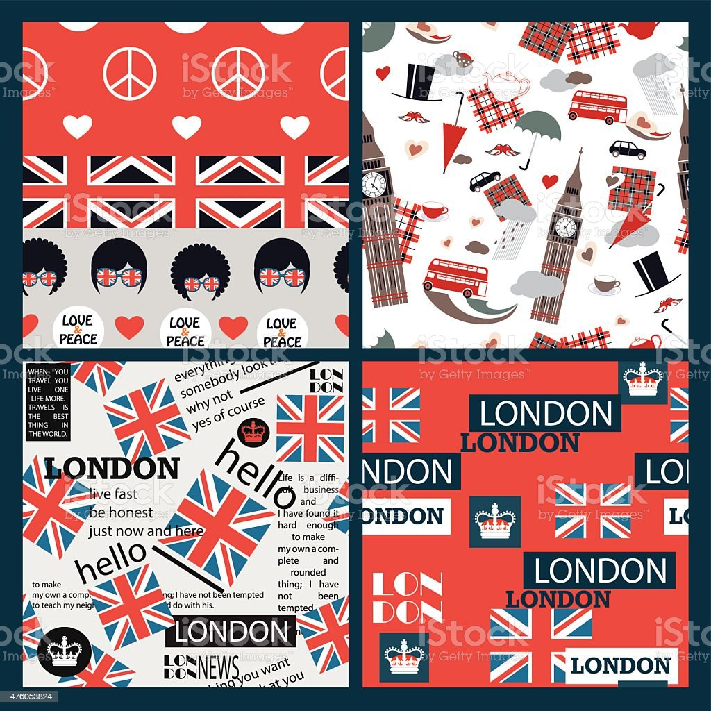set of vector bright british patterns vector art illustration
