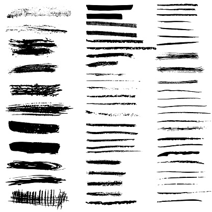 Set of vector brush strokes and banners. Hand-drawn ink strips, prints, textures. Isolated on white background. Black dirty texture. Design elements