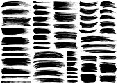 Set of vector brush strokes, lines and design elements. Isolated brush smears black on white. Hand drawn paint grunge brush strokes.
