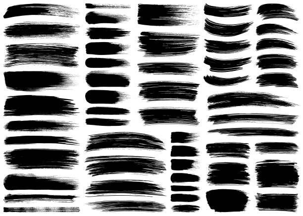 набор векторных мазок кисти - краска stock illustrations