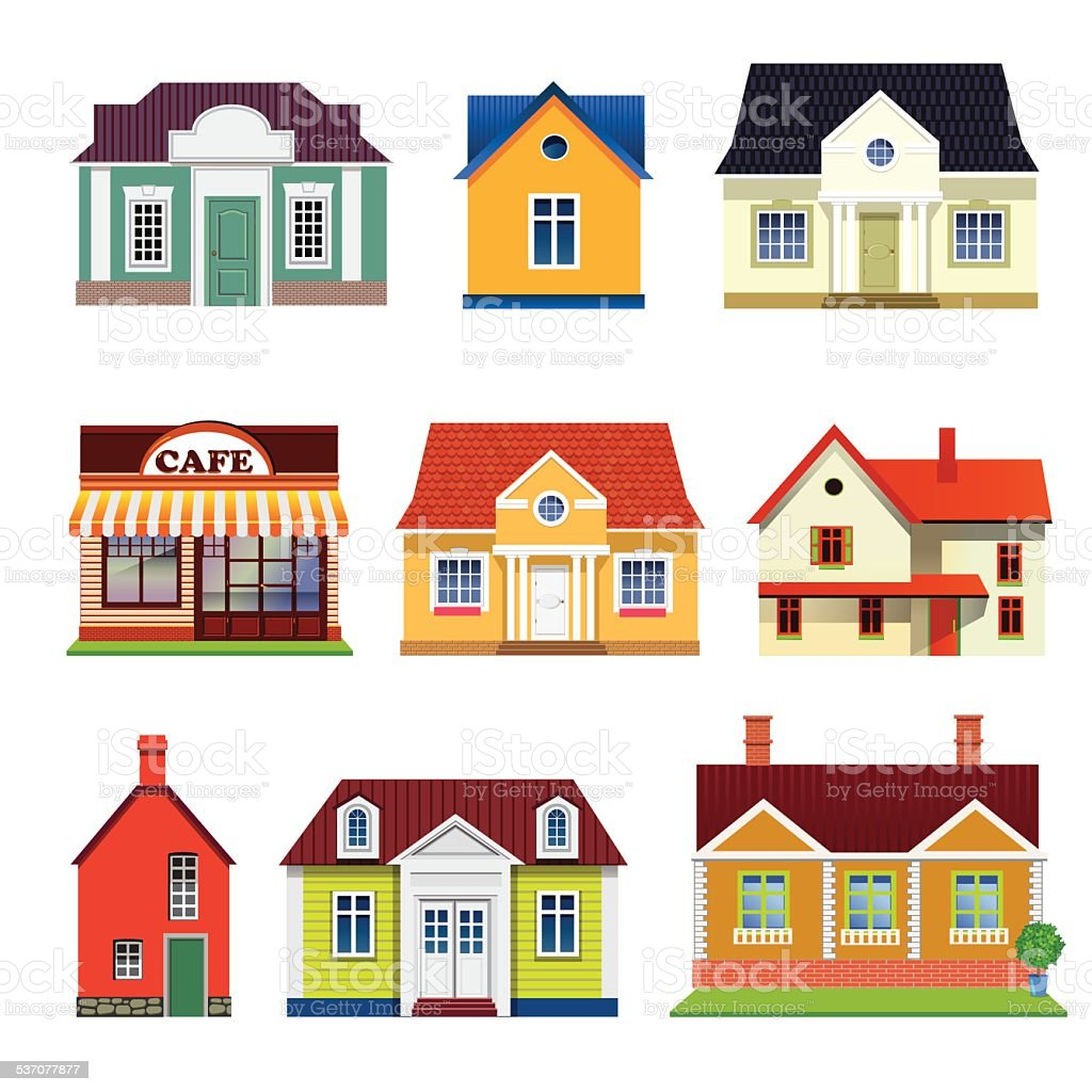 set of vector buildings vector art illustration