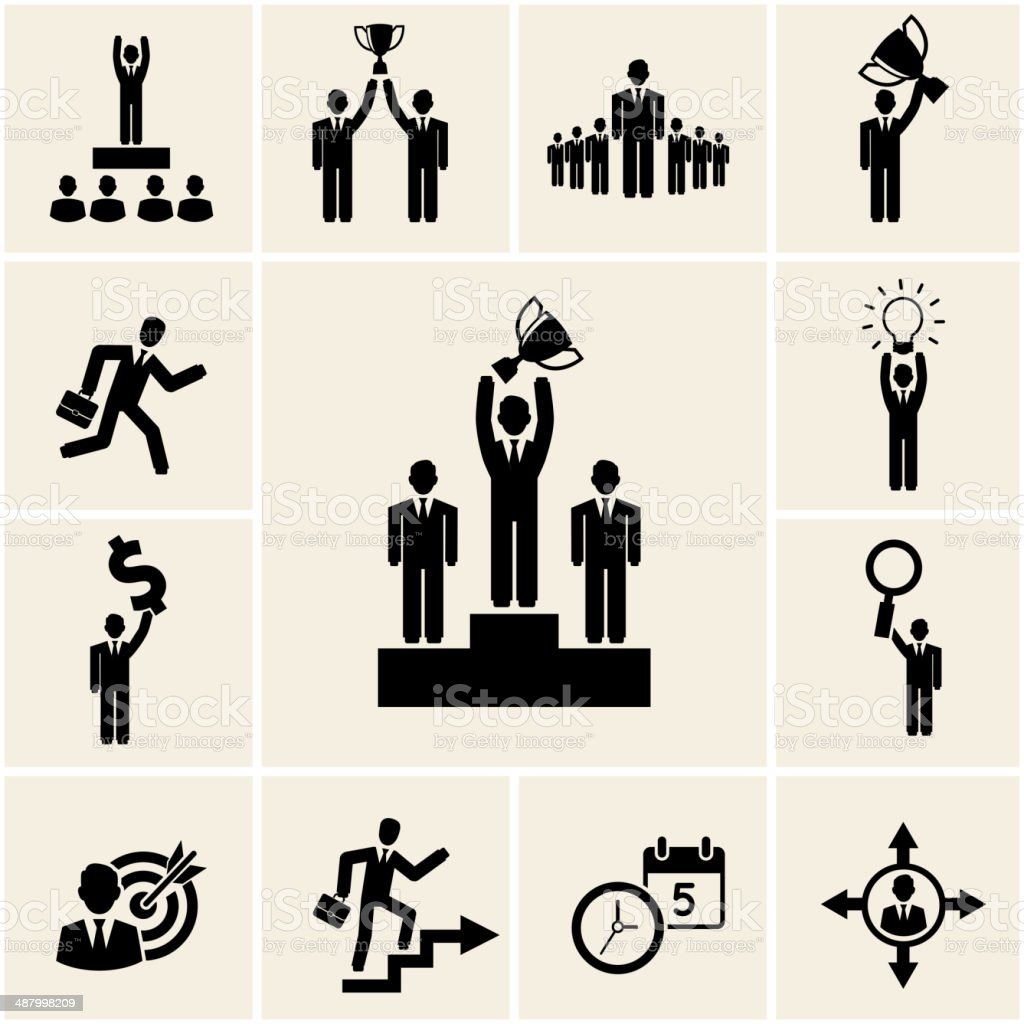 Set of vector business and career icons vector art illustration