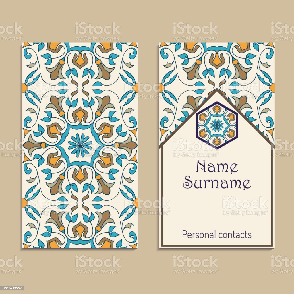 Set Of Vector Business Card Templates Portuguese Moroccan Azulejo ...