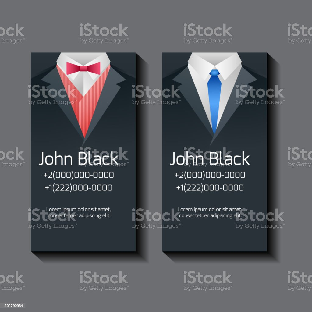 Set Of Vector Business Card Templates With Mens Suits stock vector ...