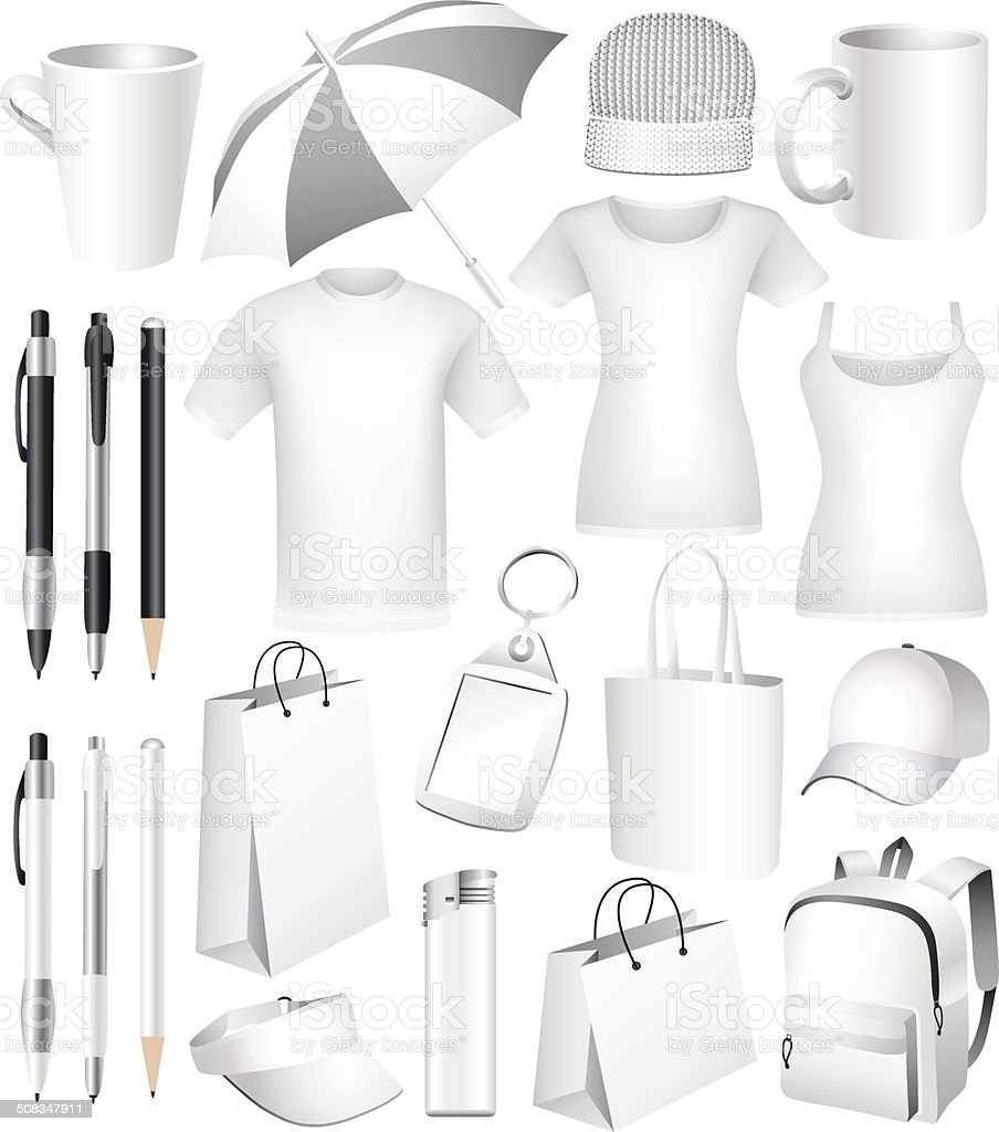 Set of  vector business corporate identity templates, gifts, packaging, souvenirs. vector art illustration