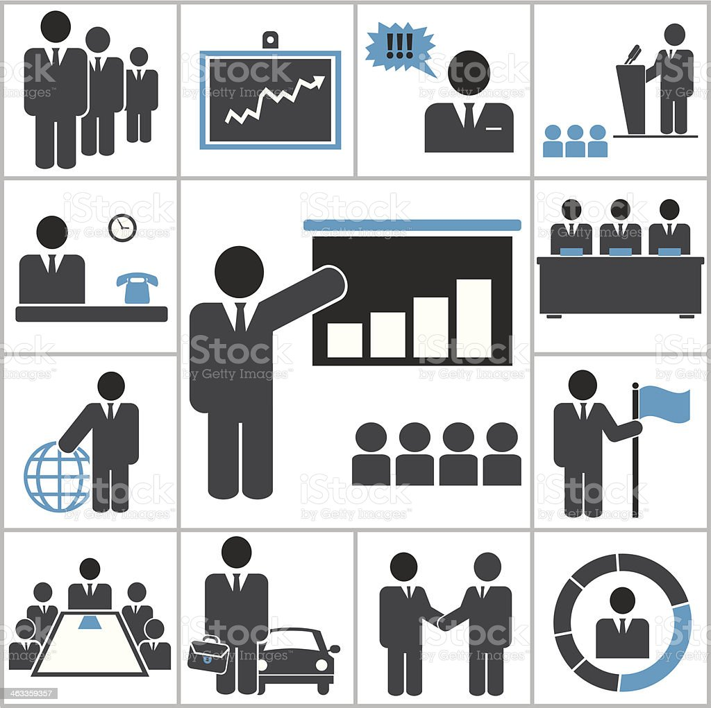 Set of vector business icons in grey and blue royalty-free stock vector art