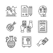 Set of vector business or finance icons in sketch style
