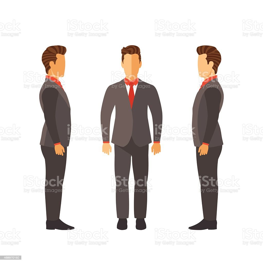 Set of vector businessmen in suits in flat style vector art illustration