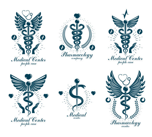illustrazioni stock, clip art, cartoni animati e icone di tendenza di set of vector caduceus signs can be used in cardiology, rehabilitation and as medical clinic emblems. - ancient medical symbol