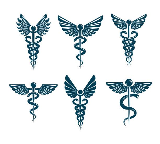 一連のベクトル カドゥケウス シンボル鳥の羽、ヘビを使用して作成されます。医療の治療とリハビリのテーマ イラスト。 - ヘルメスの杖点のイラスト素材/クリップアート素材/マンガ素材/アイコン素材
