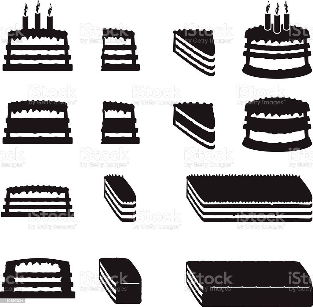 Jeu de gâteaux de vecteur avec tranches - Illustration vectorielle