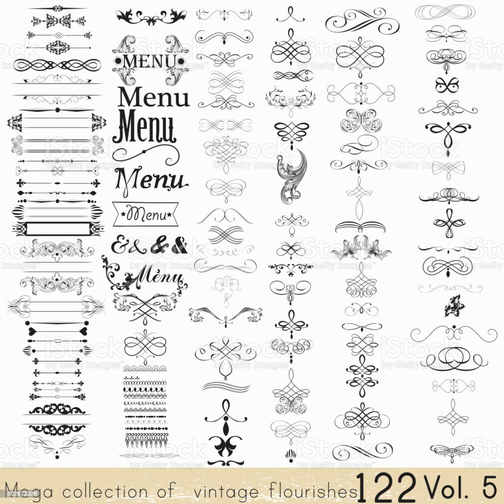 Set of vector calligraphic elements and page decorations vector art illustration