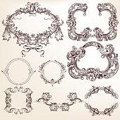 Collection or set of vector filigree drawn antique frames for design