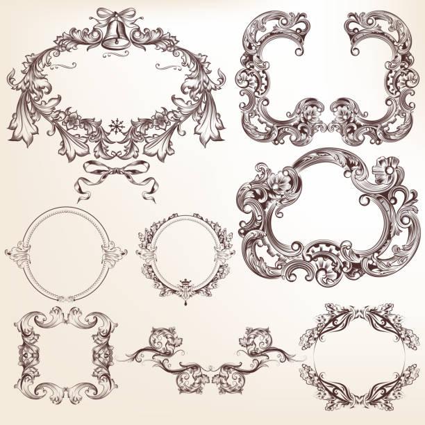 ilustrações, clipart, desenhos animados e ícones de conjunto de vetor elementos caligráficos e página decoração - bordas florais