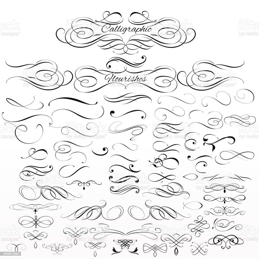 Ensemble de vecteur calligraphic elements and page décoration - Illustration vectorielle