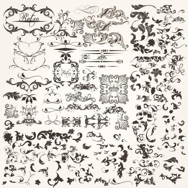 ilustrações, clipart, desenhos animados e ícones de conjunto de vetor calligraphic design elements de - bordas florais