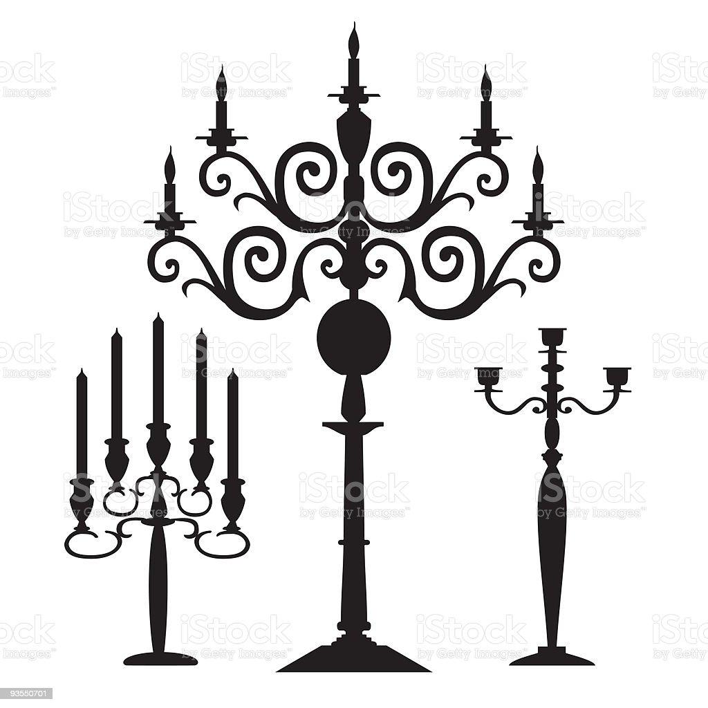 Set of vector candelabra silhouettes vector art illustration