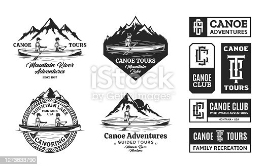 Set of vector canoeing symbol, badges and design elements. Water sport, recreation, canoeing, kayaking, rafting design concept