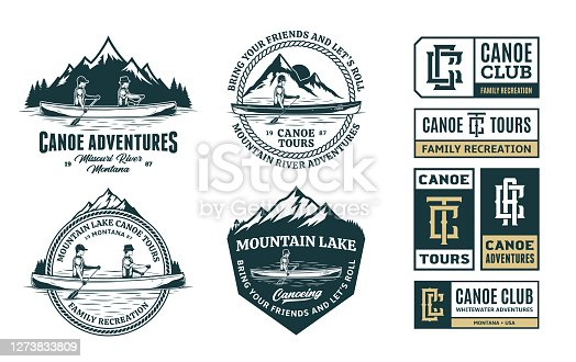 istock Set of vector canoeing symbol, badges and design elements 1273833809