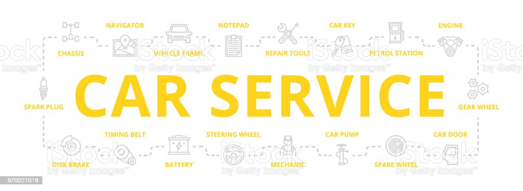 Set of vector car service and auto repair thin line banner for design concept. Illustration for presentations on white background