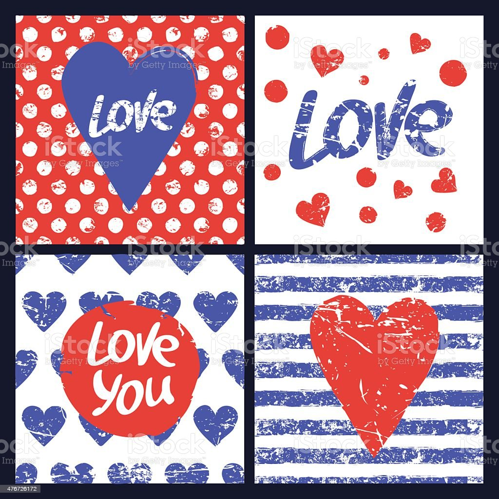 set of vector card template heart word love seamless pattern stock
