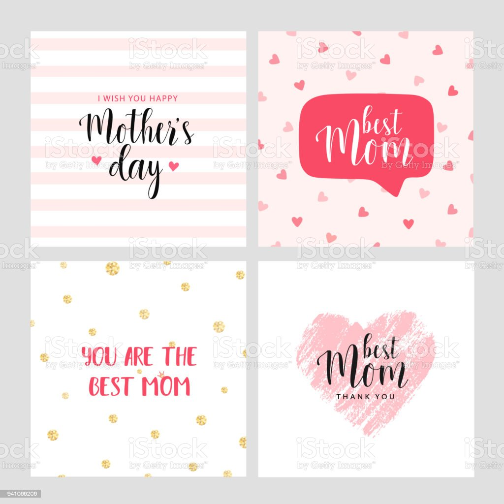 Set of vector cards for Mother's day vector art illustration