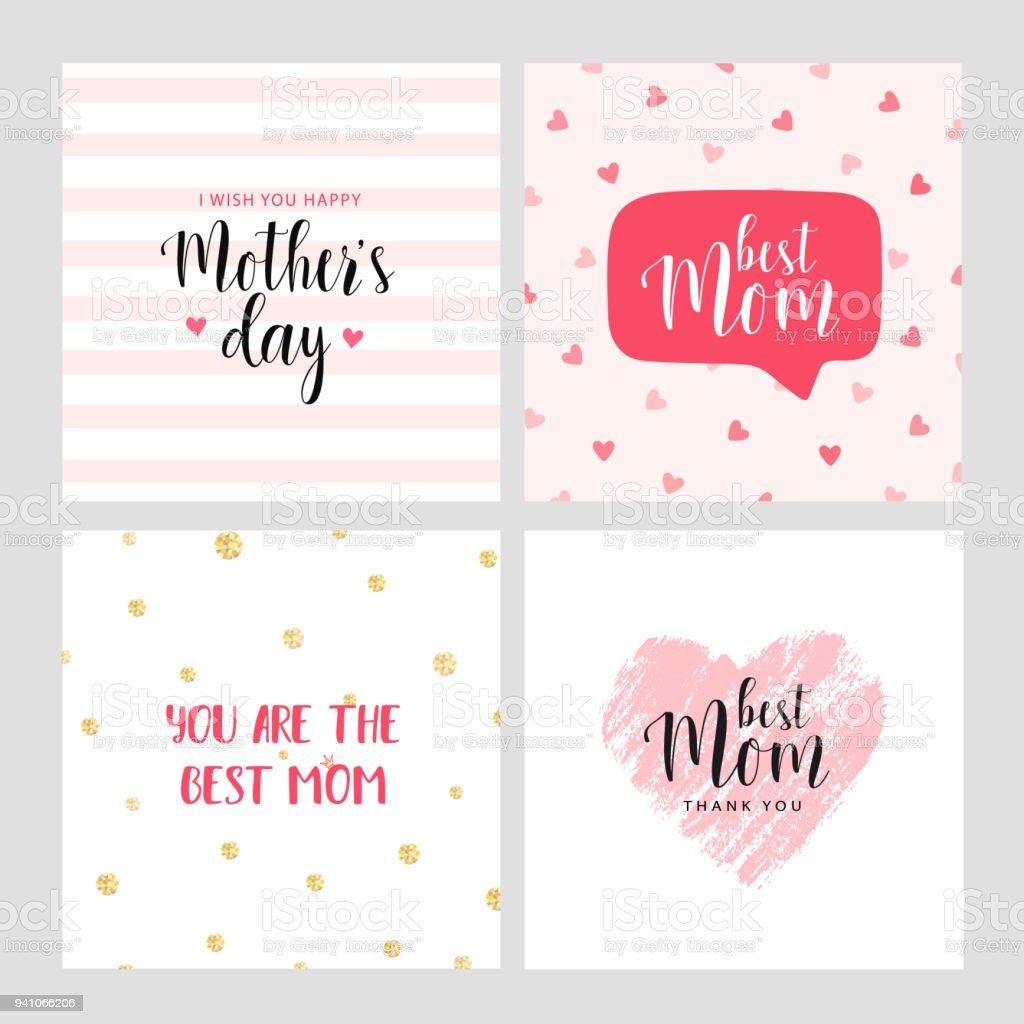 Set of vector cards for Mother's day векторная иллюстрация