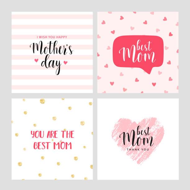 ilustraciones, imágenes clip art, dibujos animados e iconos de stock de conjunto de vector tarjetas para el día de la madre - día de la madre