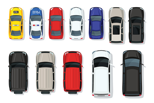 Set of vector cars top view. Flat style city transport. Vehicle icons isolated. Multicolor car illustration from top.