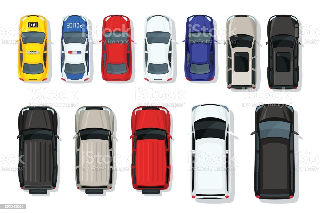Set of vector cars top view. Flat style city transport. Vehicle icons isolated. Multicolor car illustration from top. - illustrazione arte vettoriale