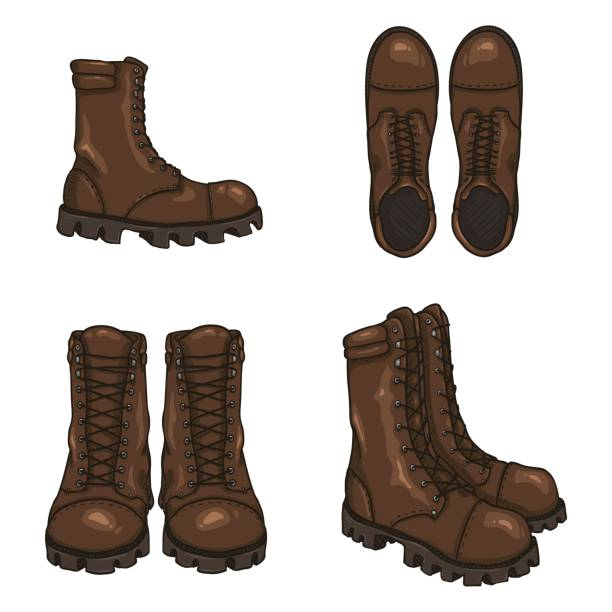set of vector cartoon army boots. high military shoes. - boot stock illustrations