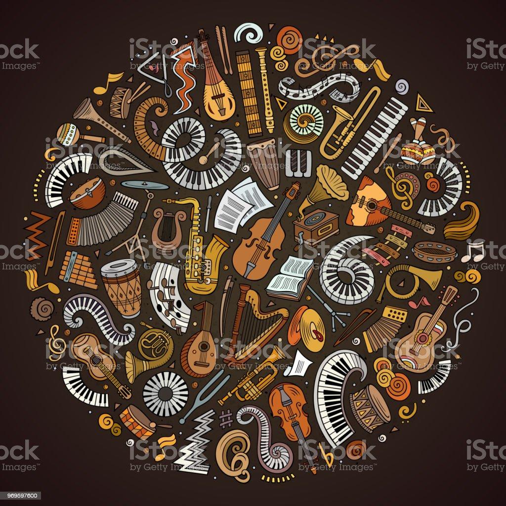 Conjunto de dibujos animados vector doodle instrumentos musicales clásicos y objetos recogidos en un círculo - ilustración de arte vectorial