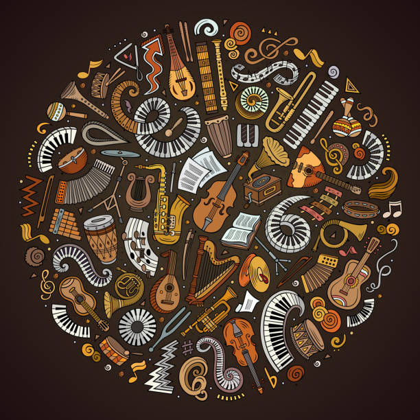set of vector cartoon doodle classic musical instruments and objects collected in a circle - akordeon instrument stock illustrations