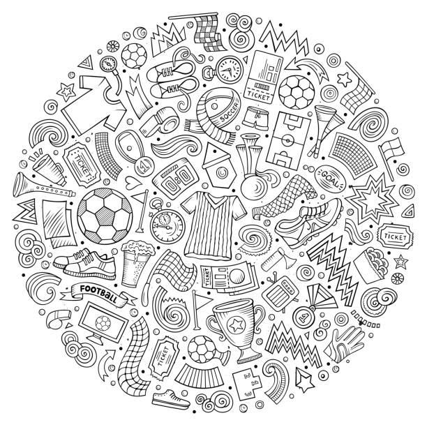 Satz von Vector Cartoon doodle Fußball Objekte gesammelt in einem Kreis – Vektorgrafik