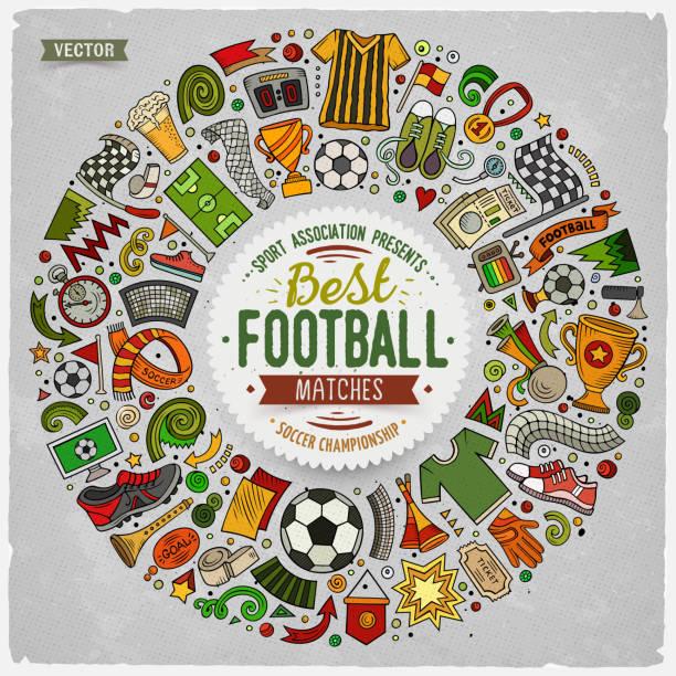 Satz von Vector Cartoon doodle Fußball Objekte gesammelt in einem runden Rahmen – Vektorgrafik