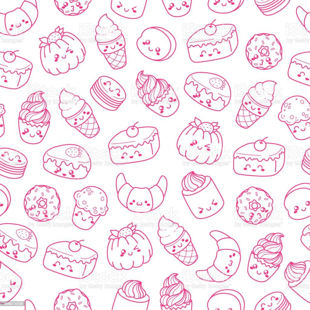 Conjunto de vetor desenhos animados doodle ícones sobremesa, bolo, sorvete, alimentos doces. Ilustração de cozimento em quadrinhos. Padrão de textura sem costura, papel de parede, plano de fundo. Sinais e símbolos - ilustração de arte em vetor