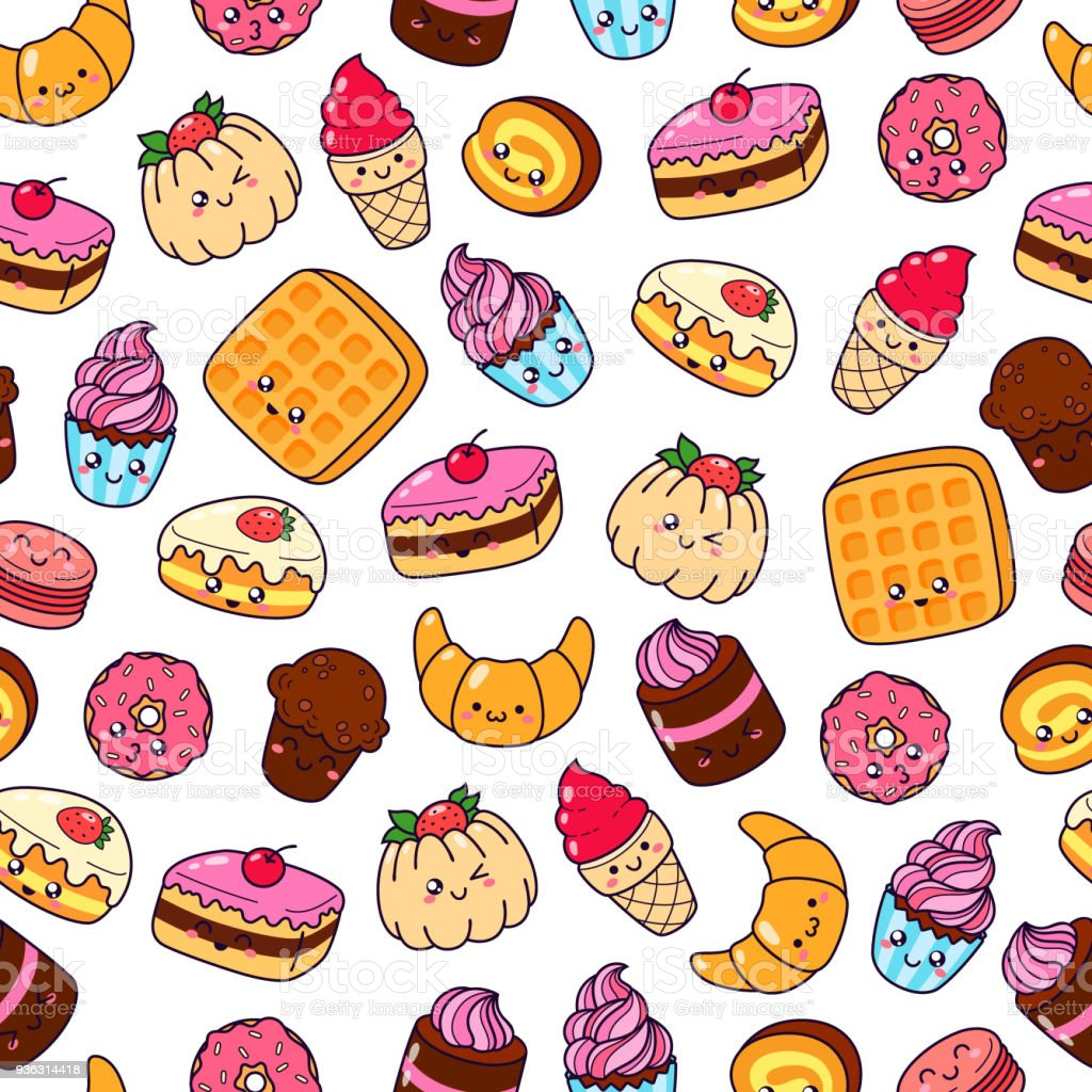 Ice Cream Wallpaper Hd: Set Of Vector Cartoon Doodle Icons Dessert Cake Ice Cream