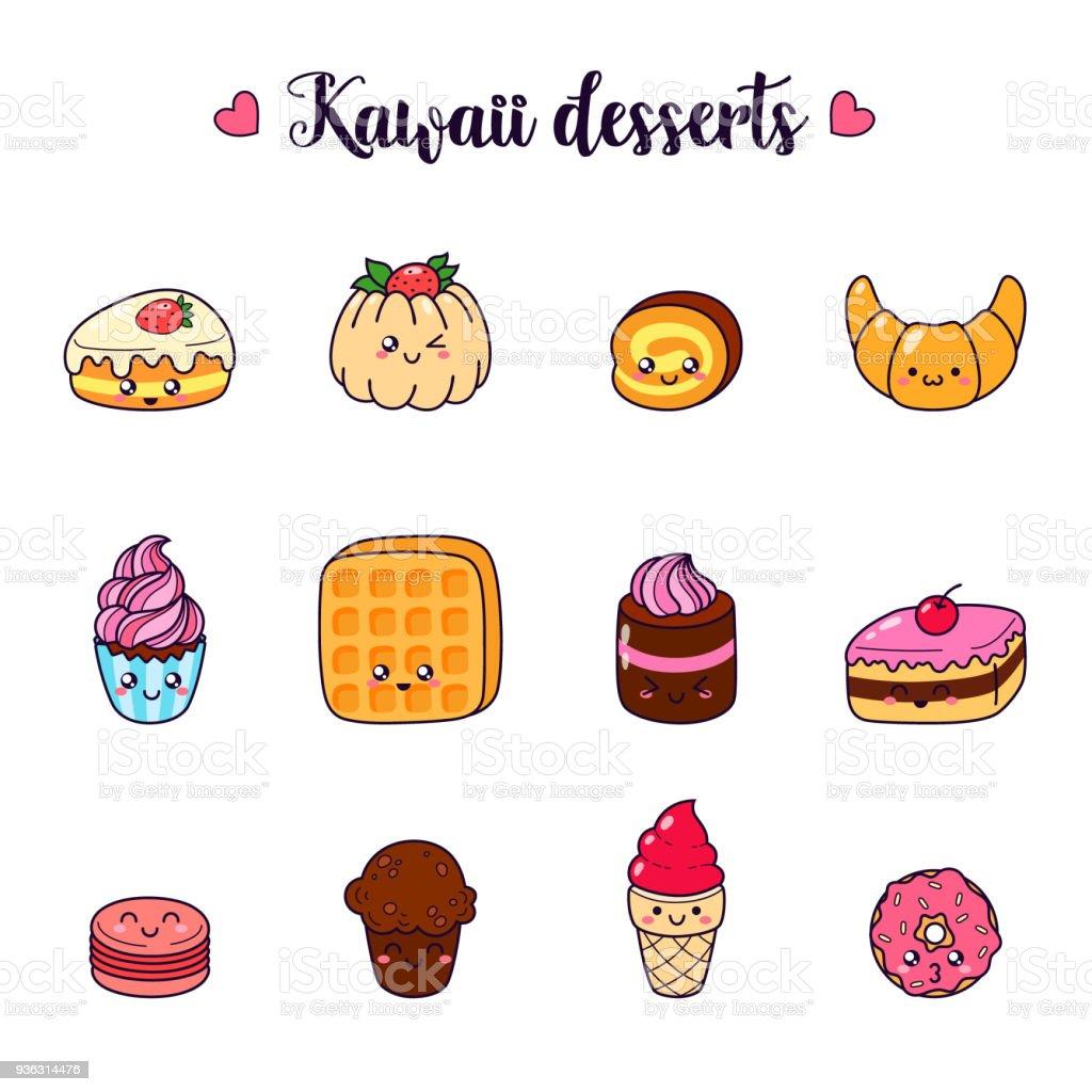 Conjunto de vetor desenhos animados doodle ícones sobremesa, bolo, sorvete, alimentos doces. Ilustração de cozimento em quadrinhos. Patch, distintivo. Modelo para impressão, moletom de cartões, t-shirts. Personagens fofinhos - ilustração de arte em vetor