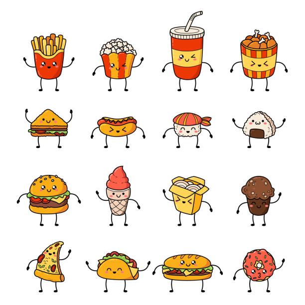 stockillustraties, clipart, cartoons en iconen met verzameling van vector cartoon doodle pictogrammen junkfood. illustratie van komische fastfood. patch, badge - friet
