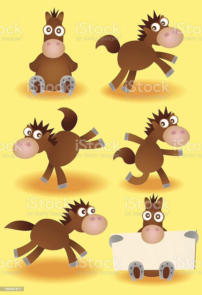 Set of Vector Cartoon Horses vector art illustration